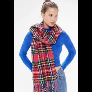Urban Outfitters Ann Fuzzy Plaid Scarf Red